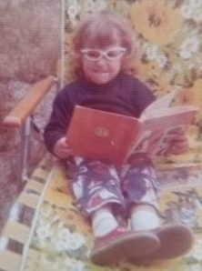 Karen reading as a kid