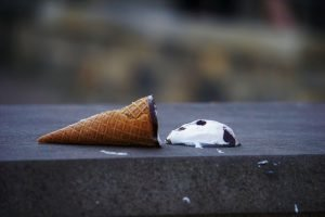 Common budgeting mistakes represented by ice cream cone mishap